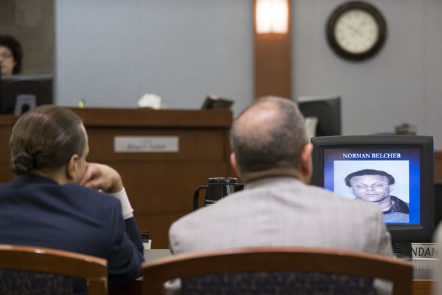 A picture of Norman Belcher is shown in the closing arguments in Belcher's death penalty trial at the Regional Justice Center on Wednesday, Dec. 14, 2016, in Las Vegas. (Erik Verduzco/Las Vegas Re ...