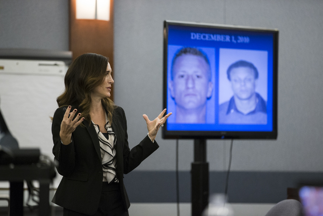 Chief Deputy District Attorney Jacqueline Bluth gives opening statements in the death penalty trial of Norman Belcher at the Regional Justice Center on Wednesday, Dec. 14, 2016, in Las Vegas. (Eri ...