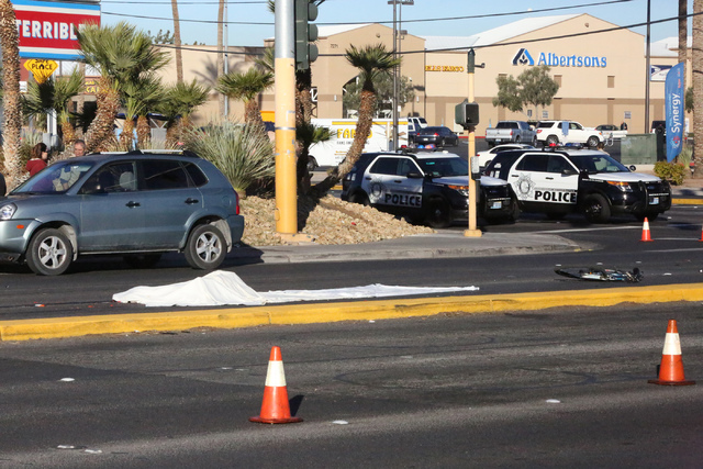 A person on bicycle was hit and killed at the intersection of Eastern and Warm Springs on Thursday, December 29, 2016. (Michael Quine/Review-Journal) @Vegas88s