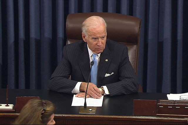 Vice President Joe Biden presides over the Senate at the U.S. Capitol in Washington, Monday, Dec. 5, 2016. A bipartisan bill to speed government drug approvals and bolster biomedical research clea ...