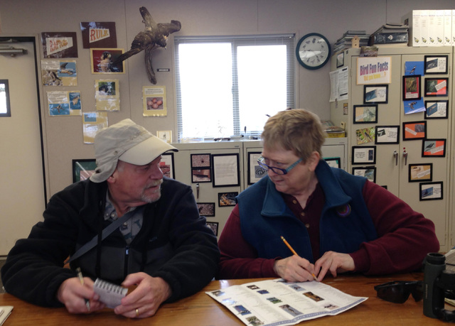 Ted and Paula Lupina tally up their sightings after the first two hours of the Audubon Society's Christmas Bird Count at the Henderson Bird Viewing Preserve Wednesday. (Henry Brean/Las Vegas Revie ...