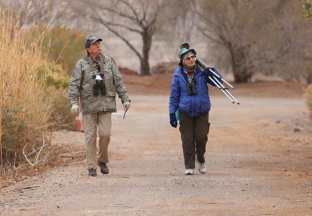Steve Christensen and Rita Schlageter, both of Henderson, look for birds as they participate in the Audubon Society's annual Christmas bird count at Bird Viewing Reserve Wednesday, Dec. 21, 2016,  ...