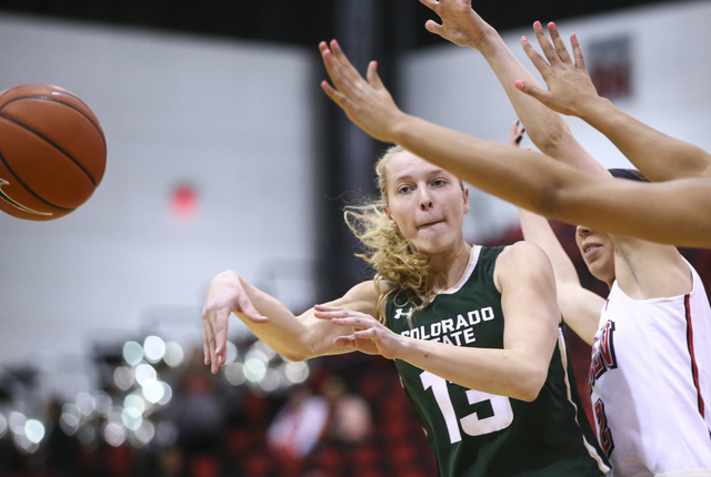 Colorado State guard Ellen Nystrom (13) makes a pass while playing UNLV in a basketball game at Cox Pavilion in Las Vegas on Thursday, Dec. 29, 2016. (Chase Stevens/Las Vegas Review-Journal) @csst ...