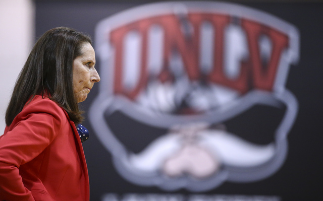 UNLV head coach Kathy Olivier looks on as her team plays Colorado State in a basketball game at Cox Pavilion in Las Vegas on Thursday, Dec. 29, 2016. (Chase Stevens/Las Vegas Review-Journal) @csst ...