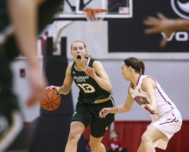 Colorado State guard Ellen Nystrom (13) shouts to her teammates while playing UNLV in a basketball game at Cox Pavilion in Las Vegas on Thursday, Dec. 29, 2016. (Chase Stevens/Las Vegas Review-Jou ...