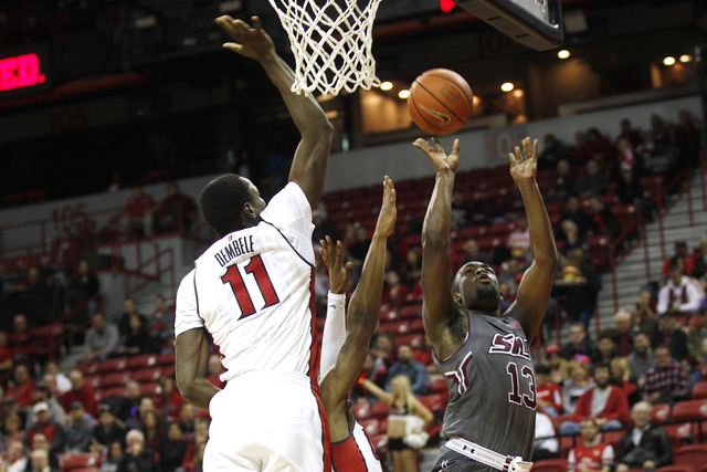Southern Illinois Salukis guard Sean Lloyd (13) goes to shoot during a game against the UNLV Rebels at the Thomas & Mack Center on Monday, Dec. 19, 2016, in Las Vegas. (Rachel Aston/Las Vegas  ...