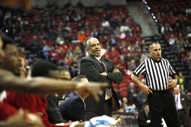 UNLV Rebels coach Marvin Menzies at the sidelines of a game against the Southern Illinois Salukis at the Thomas & Mack Center on Monday, Dec. 19, 2016, in Las Vegas. (Rachel Aston/Las Vegas Re ...