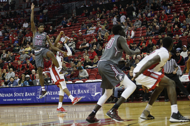 Southern Illinois Salukis guard Armon Fletcher (22) goes to shoot during a game against the UNLV Rebels at the Thomas & Mack Center on Monday, Dec. 19, 2016, in Las Vegas. (Rachel Aston/Las Ve ...
