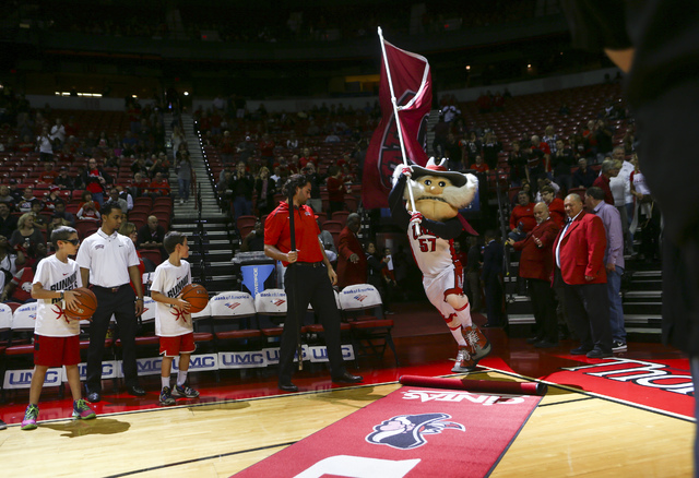 Hey Reb! enters the arena before a UNLV basketball game against South Alabama at the Thomas & Mack Center in Henderson on Friday, Nov. 11, 2016. (Chase Stevens/Las Vegas Review-Journal) Follow ...