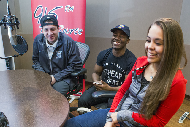 UNLV students Isaiah Torres, left, D'mon Cotton and Kim Trejo discuss their experience broadcasting UNLV sports on KUNV 91.5 during an interview on Monday, Dec. 12, 2016. (Jeff Scheid/Las Vegas Re ...