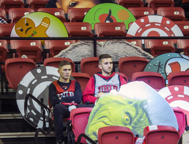 UNLV students Bryan Shafer and his brother Michael wait for the start of the Rebels game against Kansas Jayhawks at the Thomas and Mack Center on Thursday, Dec. 22, 2016. Kansas defeated the Rebel ...