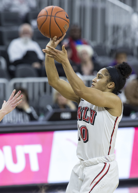 UNLV's Nikki Wheatley (10) shoots a jump shot during the Play4Kay Shootout at T-Mobile Arena on Monday, Dec. 19, 2016, in Las Vegas. Benjamin Hager/Las Vegas Review-Journal
