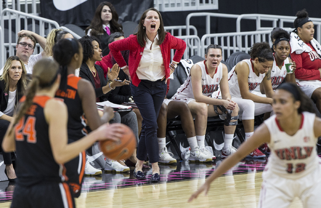 UNLV's head coach Kathy Olivier calls a play during the Play4Kay Shootout at T-Mobile Arena on Monday, Dec. 19, 2016, in Las Vegas. Benjamin Hager/Las Vegas Review-Journal