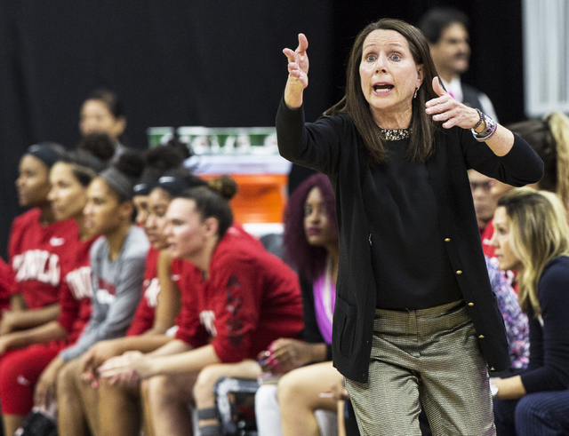 UNLV head coach Kathy Olivier calls out a play during the Rebels home matchup with New Mexico State during the  Play4Kay Shootout at T-Mobile Arena on Tuesday, Dec. 20, 2016, in Las Vegas. Benjami ...