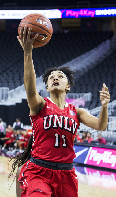 UNLV's Dylan Gonzalez (11) converts a fast break layup during the Play4Kay Shootout at T-Mobile Arena on Tuesday, Dec. 20, 2016, in Las Vegas. Benjamin Hager/Las Vegas Review-Journal