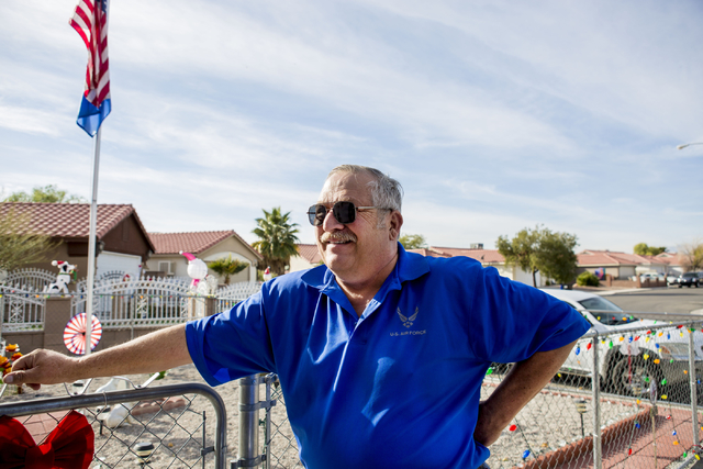 Jim Henry, a 61-year-old retired Air Force Security Police tech sergeant, discusses how he copes with his post-traumatic stress disorder during an interview at his North Las Vegas home, Tuesday, D ...