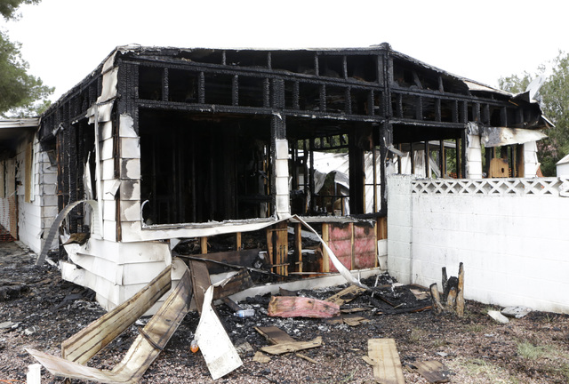 A vacant mobile home was engulfed in flames at 5494 Mabel Rd near North Christy Lane Wednesday, Dec. 21, 2016. Nobody was hurt, and authorities are still looking into the cause. (Bizuayehu Tesfaye ...