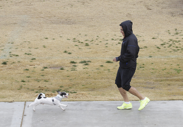 Alfredo Diaz of Las Vegas exercises with his dog Shiro at Charlie Fraise Park on Friday, Dec. 23, 2016, in Las Vegas. Friday's forecast high is 55 degrees, with a slight chance for rain in the aft ...