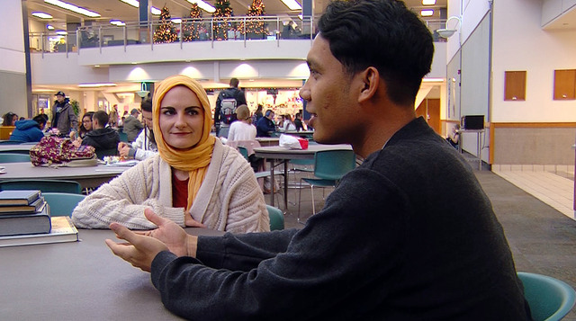 Brigham Young University Student Sondra Sasser And Hanif Sulaeman, With The  BYU Muslim Association,
