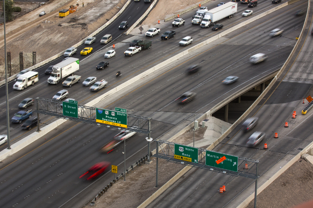"Morning traffic flows through the ""Spaghetti Bowl"" on Thursday, Oct. 27, 2016. Interstate 15 southbound and northbound ramps connecting to northbound U.S. Highway 95 will be clos ..."