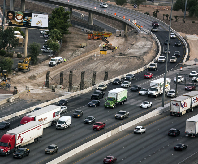 """Morning traffic flows through the """"Spaghetti Bowl"""" on Thursday, Oct. 27, 2016. Interstate 15 southbound and northbound ramps connecting to northbound U.S. Highway 95 will be closed every day until ..."""
