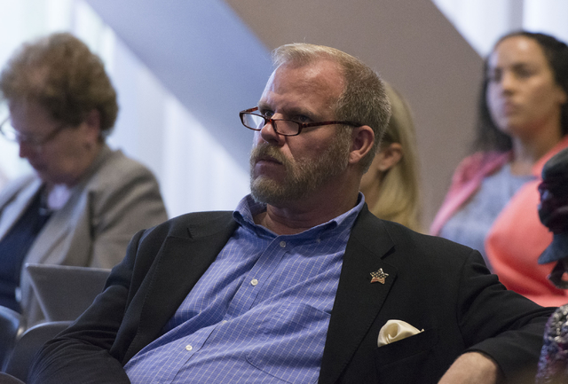 Clark County School District District D Trustee Kevin Child attends a legislative committee meeting to discuss reorganization plans for the Clark County School District at the Sawyer Building in L ...