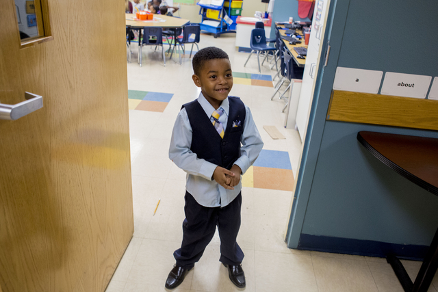 Kenneth Rhodes, 5, wears a suit to represent his aspiration to be a business man when he grows up, at the 100 Academy of Excellence, 2341 Comstock Drive, Wednesday, Nov. 30, 2016, North Las Vegas. ...