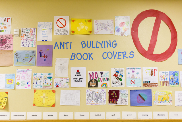 A wall of anti-bullying artwork created by students at the 100 Academy of Excellence, 2341 Comstock Drive, is pictured Wednesday, Nov. 30, 2016, North Las Vegas. (Elizabeth Brumley/Las Vegas Revie ...