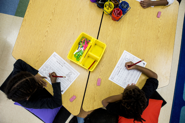 Students work on their spelling work in a kindergarten class at the 100 Academy of Excellence, 2341 Comstock Drive, Wednesday, Nov. 30, 2016, North Las Vegas. (Elizabeth Brumley/Las Vegas Review-J ...