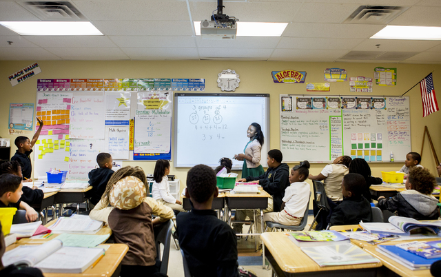 Mary Enwemaya, third-grade math teacher, teaches a lesson at the 100 Academy of Excellence, 2341 Comstock Drive, Wednesday, Nov. 30, 2016, North Las Vegas. (Elizabeth Brumley/Las Vegas Review-Jour ...