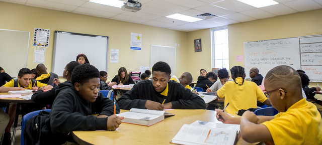 Joaquim Brass, left, and Jacob Berry, seventh-grade students, work on schoolwork at the 100 Academy of Excellence, 2341 Comstock Drive, Wednesday, Nov. 30, 2016, North Las Vegas. (Elizabeth Brumle ...