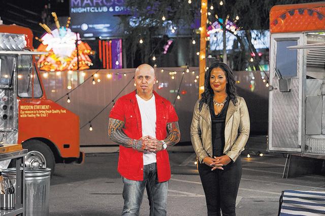 "Vic ""Vegas"" Moea and Laila Ali host ""Late Nite Chef Fight"" on FYI. (Richard Knapp/FYI)"