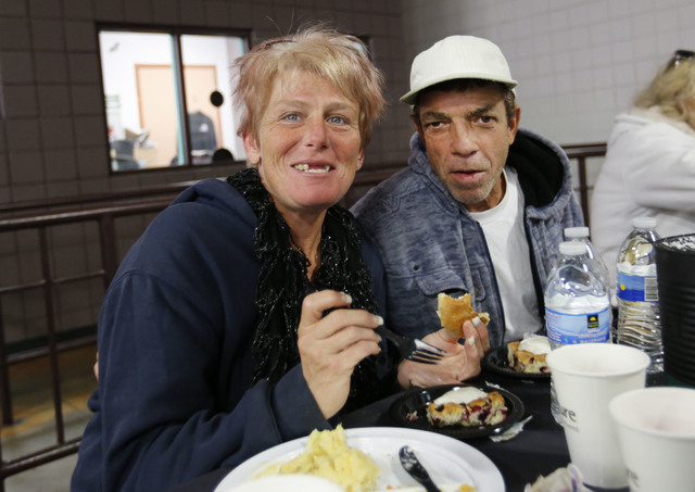 Cassie Ragan and her husband Richard Ragan during Christmas dinner at Catholic Charities of Southern Nevada in Las Vegas, Sunday, Dec. 25, 2016. Catholic Charities of Southern Nevada serves Christ ...