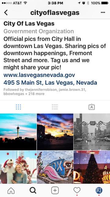 A screenshot of the City of Las Vegas' Instagram site.