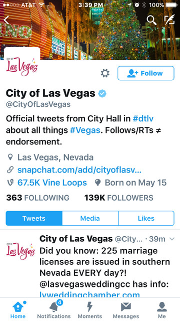A screenshot of the City of Las Vegas' Twitter site.