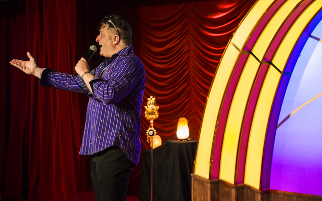 """Comedian Tommy Savitt performs as """"Tommy Lama,"""" at the Laugh Factory comedy club inside the Tropicana hotel-casino on Monday, Aug. 22, 2016, in Las Vegas. Benjamin Hager/Las Vegas Review-Journal"""