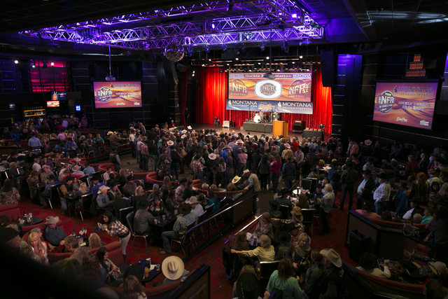 The gold buckle nightly awards show and party is one of the big draws at the South Point during the Wrangler NFR, as is the nightly viewing party, which has now taken over three ballrooms. (Specia ...