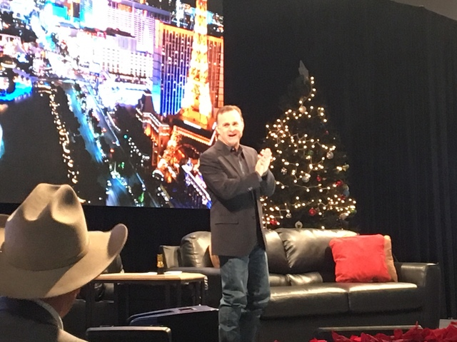 "Flint Rasmussen's ""Outside the Barrel"" live TV show has become one of the most popular daily attractions of Cowboy Christmas at the Las Vegas Convention Center's South Halls. (Patrick Everson/Las  ..."