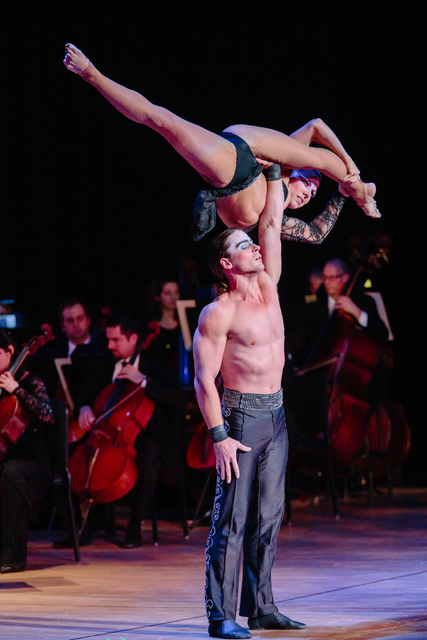 Symphony musicians provide accompaniment for acrobatic feats in the Cirque Musica Holiday Spectacular, which makes its Las Vegas debut Wednesday at the Orleans Arena. (TCG Entertainment)