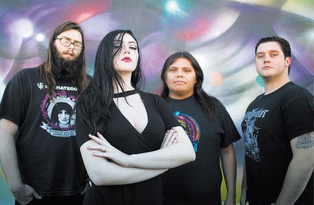 From left, Sean Van Haitsma, Kaylee Jade, Omar Alvarado and Ian Henneforth make up the doom metal band Spiritual Shepherd in Las Vegas on Saturday, Dec. 3, 2016. Brett Le Blanc/Las Vegas Review-Jo ...