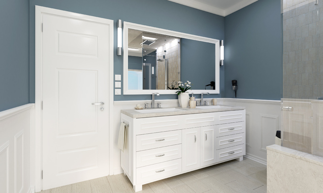 THINKSTOCK The Blue Bathroom Walls Pair Well With White Door Wainscot And Standalone Cabinet