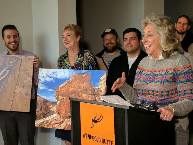 Nevada Congresswoman Dina Titus talking during a press conference at Faciliteq (cq), 817 S. Main St., after President Barack Obama designated Gold Butte as a national monument. (Colton Lochhead/La ...