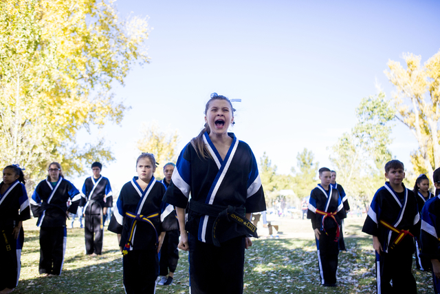 Victory Martial Arts Shadow Hills preforms a Taekwondo routine during the Cowboy Christmas and Classic Car Show, Sat, Dec. 3, 2016, at Floyd Lamb Park, 9200 Tule Springs Road, Las Vegas. (Elizabet ...