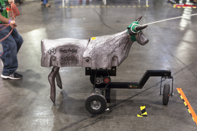 A decoy steer at the Three Amigos Super Steer Roping booth at the Cowboy Christmas gift show in the south halls of the Las Vegas Convention Center on Sunday, Dec. 4, 2016, in Las Vegas. (Rachel As ...