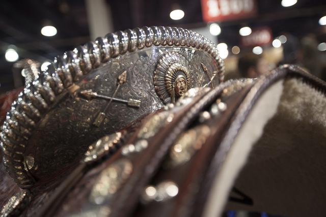 A close up of a hand made saddle that is worth $219,500 and took 1500 hours to make in the south halls of the Las Vegas Convention Center on Sunday, Dec. 4, 2016, in Las Vegas. (Rachel Aston/Las V ...