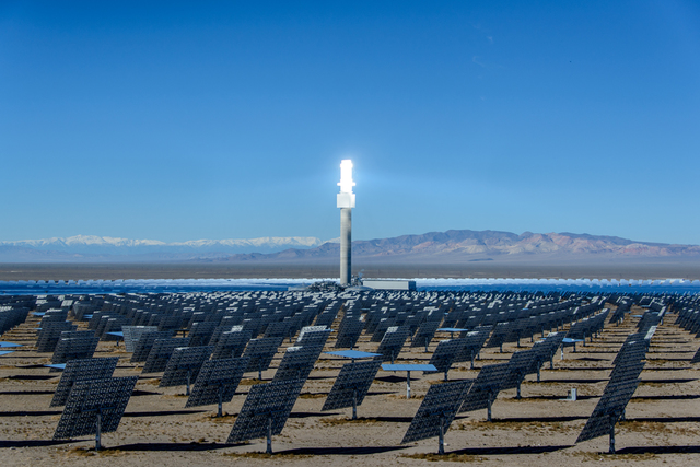The solar tower gleams at SolarReserve's Crescent Dunes solar plant in October 2016. (David Jacobs/Times-Bonanza & Goldfield News)