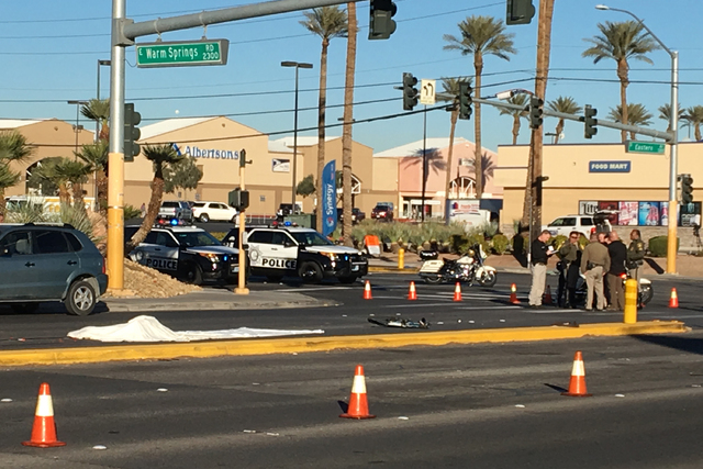 Police work the scene of an accident in which a man was struck and killed near Warm Springs Road and Eastern Avenue Thursday, Dec. 29, 2016. (Michael Quine/Las Vegas Review-Journal)