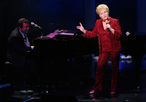 Debbie Reynolds, shown in performance with her music director of 30 years, Joey Singer. (Courtesy photo)