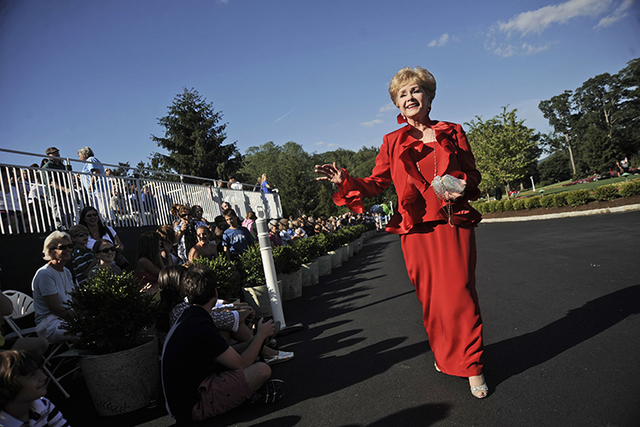 FILE- In this July 2, 2010, file photo, actress Debbie Reynolds arrives at The Greenbrier for the gala opening of the Casino Club in White Sulphur Springs, W.Va. (Jeff Gentner/AP)