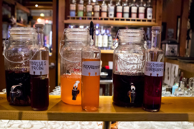 House made vodka and moonshine infusions at the Hooch in the Henderson on Friday, Dec. 9, 2016. (Miranda Alam/Las Vegas Review-Journal) @miranda_alam